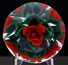 STEVEN LUNDBERG Red Rose Art Glass Diamond Shaped Paperweight Aprx 225Hx35W