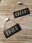 PBK Hanging Wall Chair Wedding Decor Wood Bride Groom Sign Black Set of 2