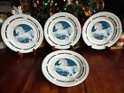 4 USED TIENSHAN FANTASY UNICORN DINNER PLATES STONEWARE 10 3/4