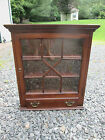 VINTAGE CHIPPENDALE MAHOGANY HANGING WALL CABINET CUPBOARD GLASS DRAWER ANTIQUE
