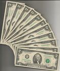 1 1976 CHICAGO CU 2 DOLLAR BILLS BRAND NEW FIVE FIVES IN A ROW 1 NOTE