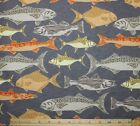 SNUGGLE FLANNEL VARIETY OF FISH Fishing on GRAY 100 Cotton NEW BTY