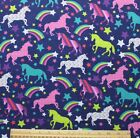 SNUGGLE FLANNEL SHOOTING STARS  UNICORNS on BLUE 100 Cotton BTY