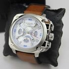 NEW AUTHENTIC DIESEL BAMF SILVER BROWN LEATHER CHRONOGRAPH MEN'S DZ7357 WATCH