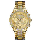 NEW GUESS WATCH Women * Sporty Glitzy Large Gold Tone Stainless Steel * U0628L2