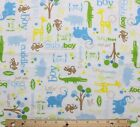 SNUGGLE FLANNEL BABY BOY LITTLE GUY on WHITE  100 Cotton Fabric NEW BTY