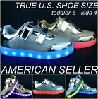 Kids Toddler LED Light Up Sneakers Shoes Boy Girl Glossy PU USB Charger Athletic