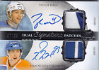 2013-14 UD THE CUP TAYLOR HALL RYAN NUGENT HOPKINS AUTO PATCH 35 DUAL SIGNATURE