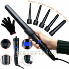 Professional LCD 6-IN-1 Curling Iron Wand Set w/ Temp Control Ceramic Tourmaline