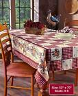 Country Primitive Hearts  Stars Tablecloth Table Linens 52 x 70 NEW