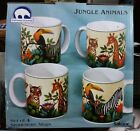 New Sakura JUNGLE ANIMALS set of 4 Mugs Cups. Oneida Stephanie Stouffer