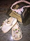 WEE KIDS Vintage Baby Shoes size Newborn  Headband USA Perfect for Dolls