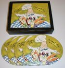 Mud Pie Tracy Flickinger Series Bon Appetite 4 cork backed coaster