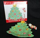 FITZ AND FLOYD SNOWFLAKE & JAKE CHRISTMAS TREE SNACK PLATE & SNOWMAN KNIFE NIB
