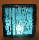 Blue Green Man Fused Art Glass Luminary Handcrafted 1 of Kind Signed by Artist