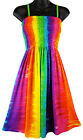 Rainbow Tie Dye Vertical Stripes Sundress Casual Summer Beach NEW Womens S M L