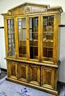 Vintage American Of Martinsville Wood China Hutch Cabinet Glass/Bronze w/lights