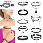 10Pcs Set Womens Gothic Punk Velvet Tattoo Lace Choker Collar Pendant Necklace