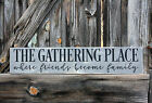 LARGE Rustic Wood Sign THE GATHERING PLACE Country Farmhouse KITCHEN Distressed