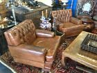 Very Rare 1920s French Art Deco Button Tufted Leather Club Lounge Chairs
