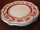 Fitz Floyd Town Country Red Dinner Plates Lot 2 Scalloped Vines