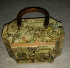 Vintage Anton Pieck 3D Decoupage Art Wooden Box Purse-8 sided Town and carriage