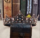 Vintage Baroque Queen Crystal Pearl Crown Wedding Bridal Headband Tiara Jewelry
