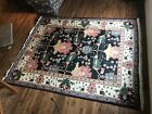 Vintage Hand Made Indo Persian Mahal Heriz Rug Carpet Black Ivory Border 8'X10'