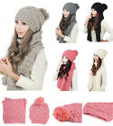 Lady Girls New Fashion Cap  Scarf Combo Sets Winter Hats Warm Knitted