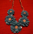 Beautiful Blue flower necklace with rhinestone center silver tone chain