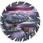 Hand Painted Saw Blade Mountain Mauve Winter Log Cabin and Two Moose