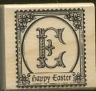 HAPPY EASTER E Floral POSTAGE STAMP NEW Medium Craft Smart Wood RUBBER STAMP