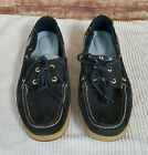 Sperry Top Sider Womens Blue Suede Leather Plaid Slip On Boat Shoes sz 8 M