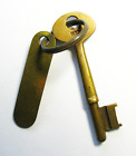 GENUINE WWII Era Brass Tag Antique Ship Skeleton Key Navy Old More Rare Here