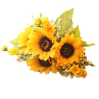 Meiliy 1 Bouquet Artificial Silk Sunflower 7 stems Flowers For Home Decoration W