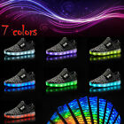 Kids Child Boys Girls LED Light Up Trainers Knitted Sneakers Luminous Shoes Size