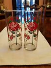 Pair of 2 red rose glass tumblers highballs Tom Collins 16 roses 1 large 15 sm