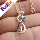 Infinity Love Couple Hug 925 Sterling Silver Turkish Handmade Ladys Necklace
