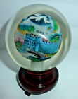 Heavy Art Glass 4 Dia Paperweight Reverse Painted Great Wall of China w Stand