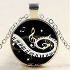 New Cabochon Glass Silver Bronze Black Pendant Necklace Music Notes