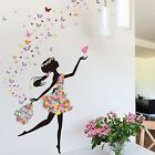 uxcell DIY Dancing Butterfly Flower Girl Removable Wall Sticker Decal Mur NEW