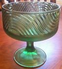 EO Brody Co. #138 Vintage Green Glass Compote Candy Dish Swirl Footed, EUC
