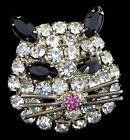 Vintage Crystal Black Rhinestone Kitty CAT Face Figural Pin Brooch