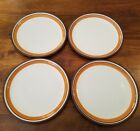 VINTAGE DANSK STACKING STRIPE ORANGE/TANGERINE SET OF 4 DINNER PLATES