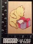 ALL NIGHT MEDIA USED RUBBER STAMPS 752J POOHS PRESENT DISNEY HOLIDAY BIRTHDAY