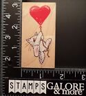 ALL NIGHT MEDIA USED RUBBER STAMPS 218G CAT BALLOON HEART FLYING