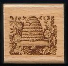 HONEY BEE HIVE Insect bumblebee home Flowers ANNA GRIFFIN wood RUBBER STAMP