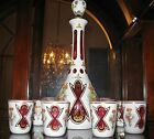 Beautiful Bohemian Moser White Cut To Cranberry Decanter Glass Set