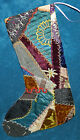 AWESOME ANTIQUE VINTAGE CRAZY QUILT CHRISTMAS STOCKING CUTTER QUILT CQ12