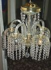 Vintage French Style Crystal Bobeche 5 Arm Ceiling Fixture Chandelier
